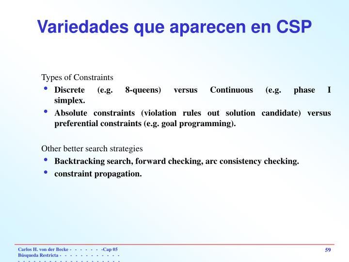 Variedades que aparecen en CSP