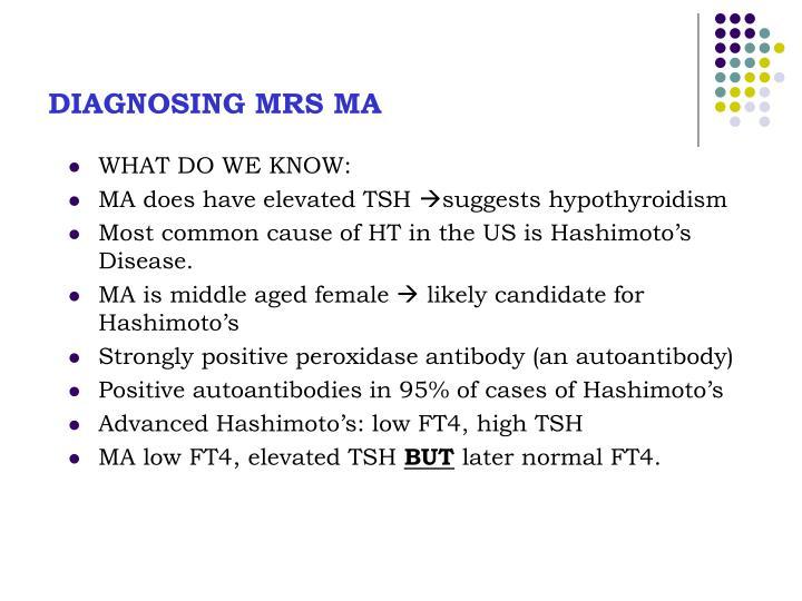 DIAGNOSING MRS MA