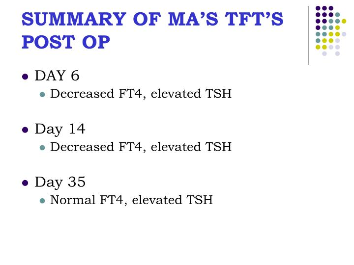SUMMARY OF MA'S TFT'S POST OP