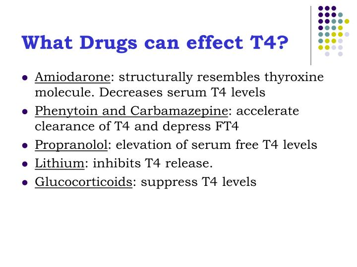 What Drugs can effect T4?