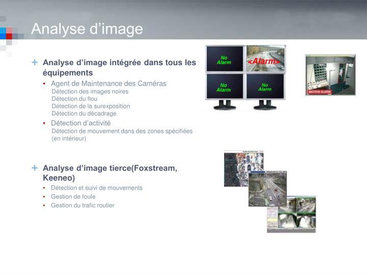 Analyse d'image intégrée