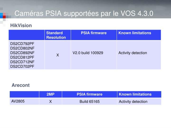 Caméras PSIA supportées par le VOS 4.3.0