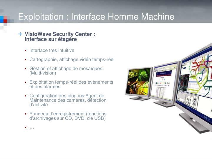 VisioWave Security Center : interface sur étagère