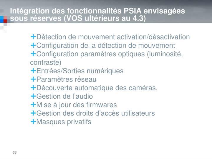 Intégration des fonctionnalités PSIA envisagées sous réserves (VOS ultérieurs au 4.3)