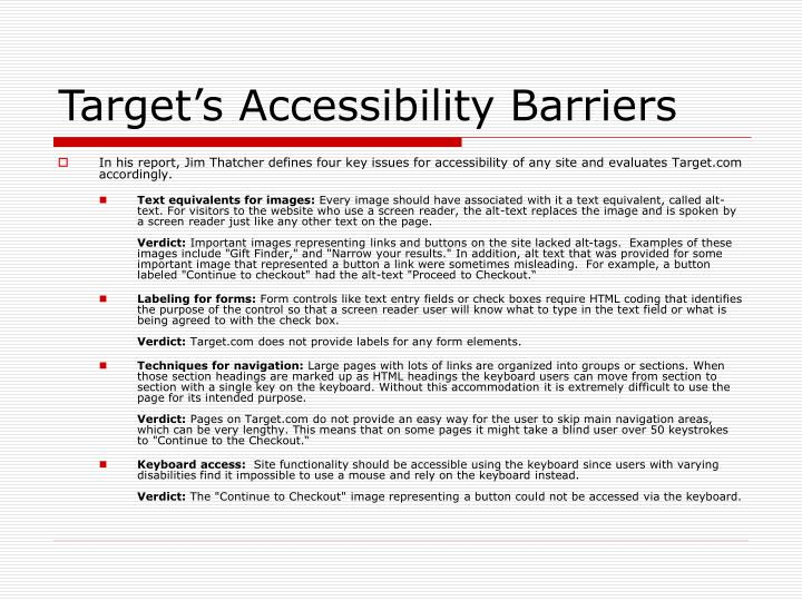 Target's Accessibility Barriers