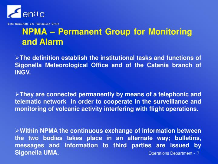 NPMA – Permanent Group for Monitoring and Alarm