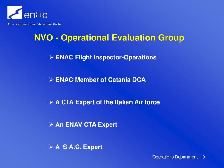 NVO - Operational Evaluation Group