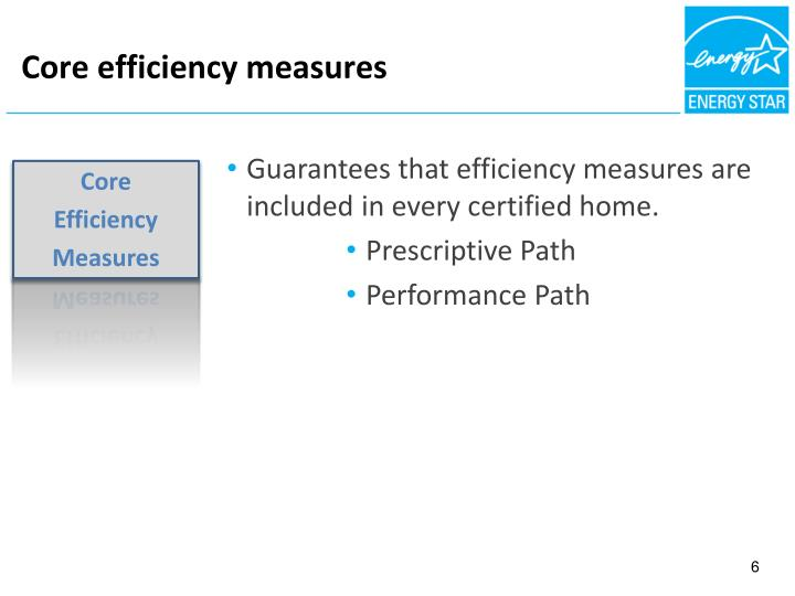 Core efficiency measures