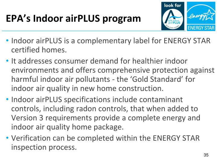 EPA's Indoor airPLUS program