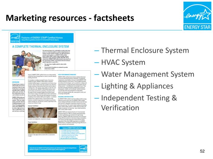 Marketing resources - factsheets