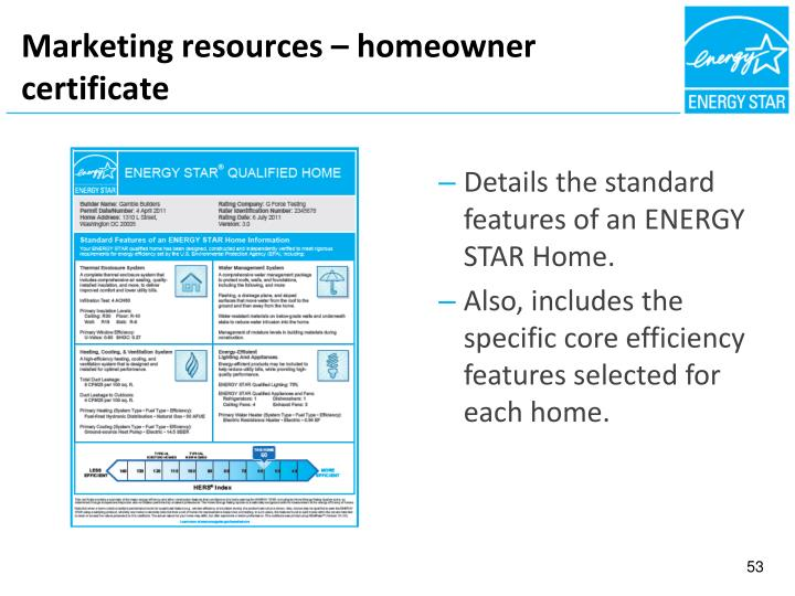 Marketing resources – homeowner certificate