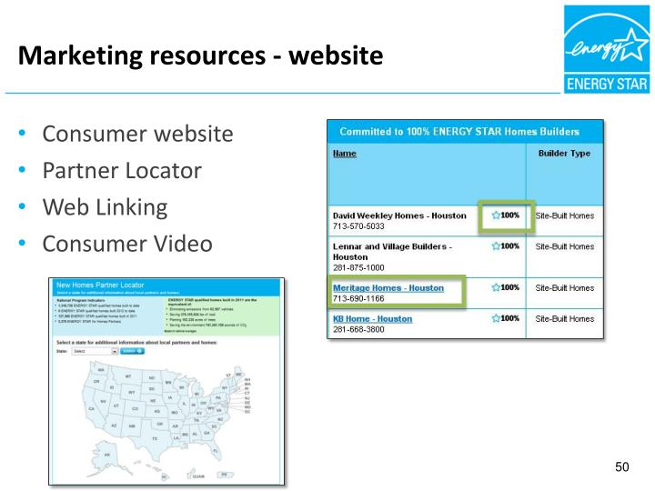 Marketing resources - website