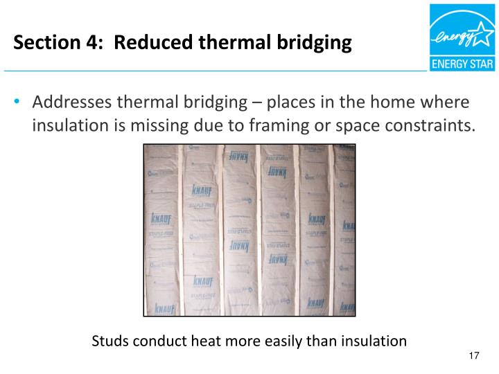 Section 4:  Reduced thermal bridging