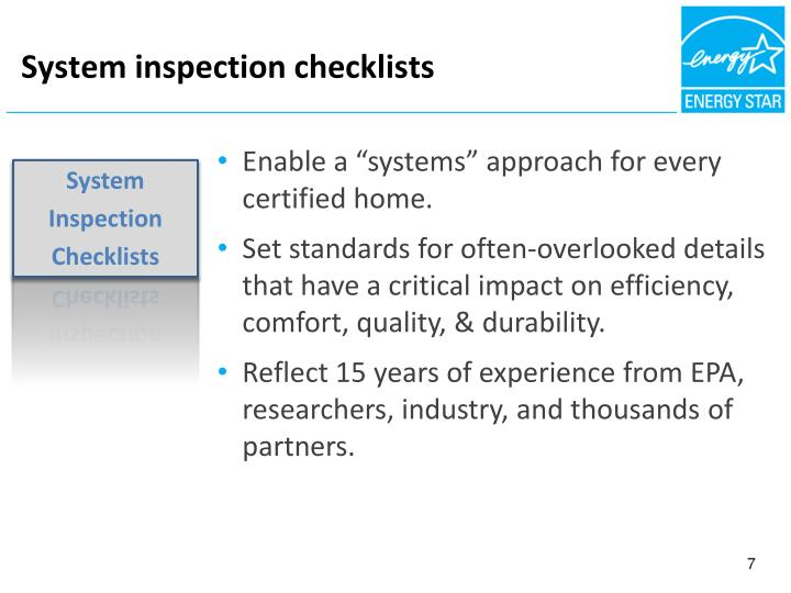 System inspection checklists