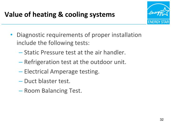 Value of heating & cooling systems