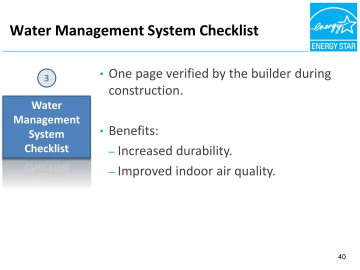 Water Management System Checklist