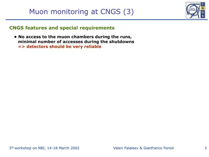 Muon monitoring at CNGS (3)