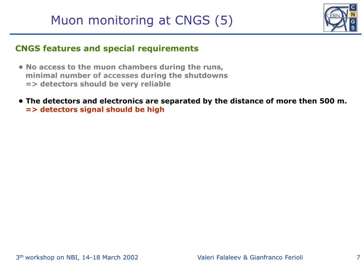Muon monitoring at CNGS (5)