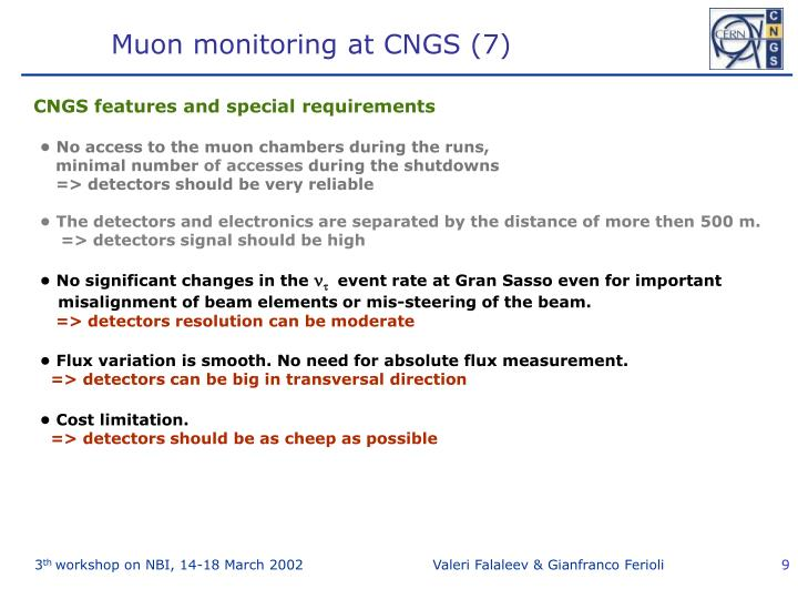 Muon monitoring at CNGS (7)