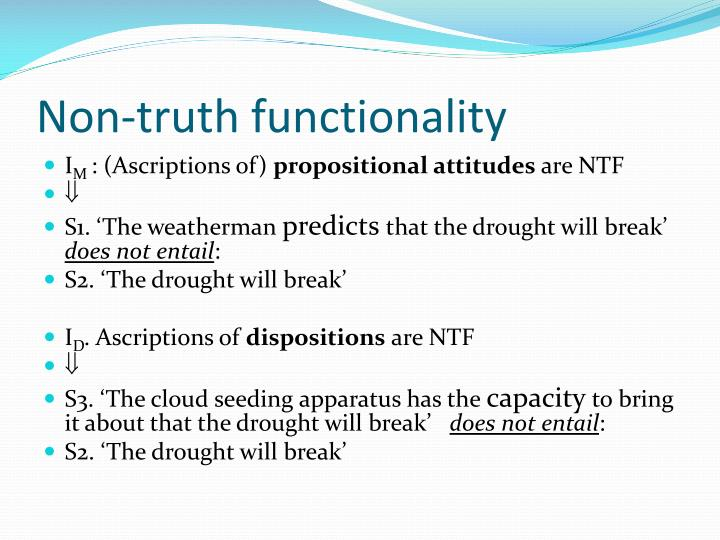 Non-truth functionality