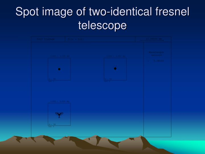 Spot image of two-identical fresnel telescope