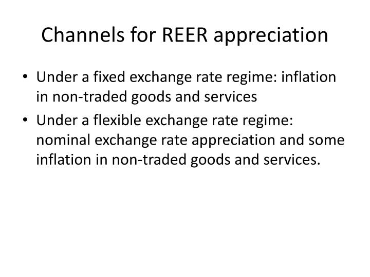 Channels for REER appreciation
