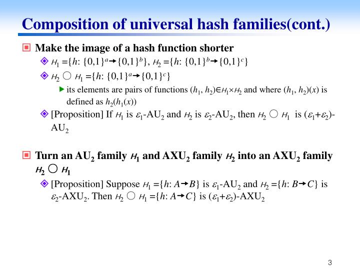 Composition of universal hash families(cont.)