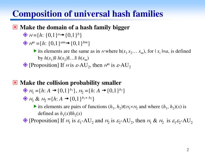 Composition of universal hash families