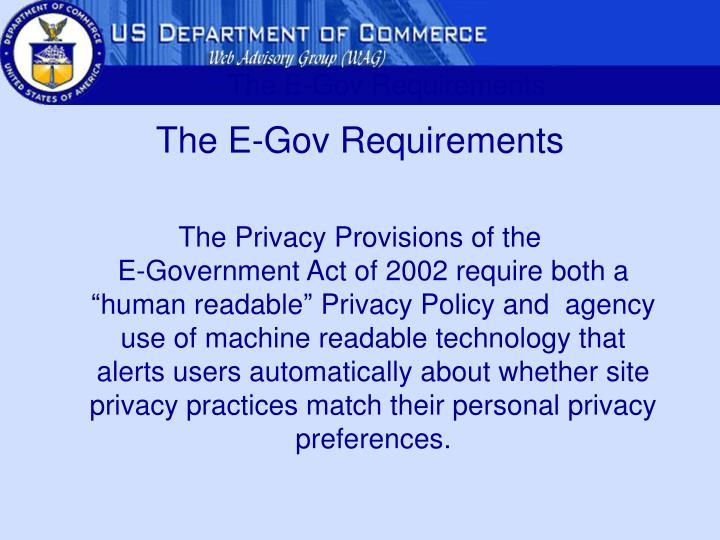 The E-Gov Requirements