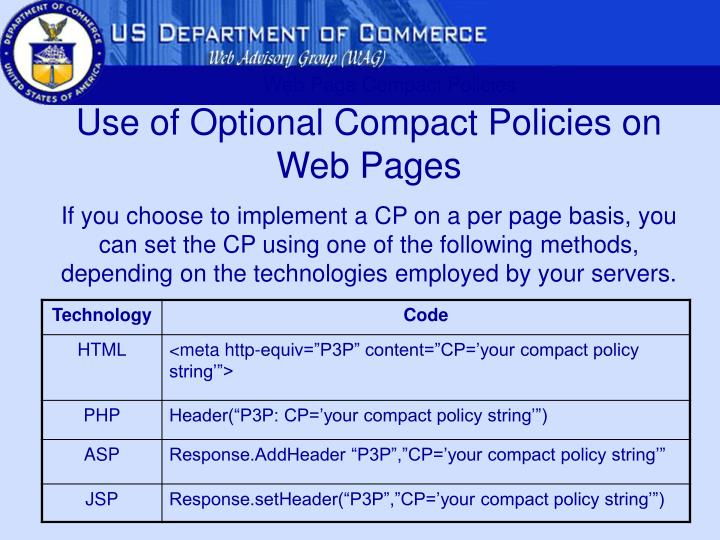 Web Page Compact Policies
