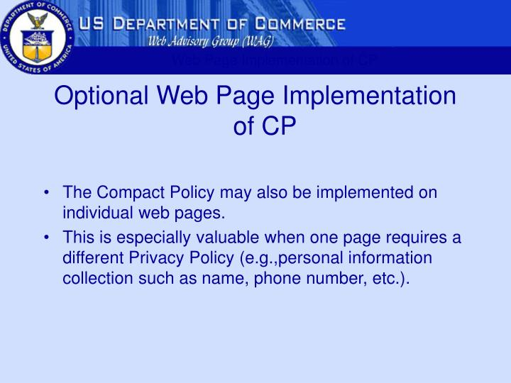 Web Page Implementation of CP
