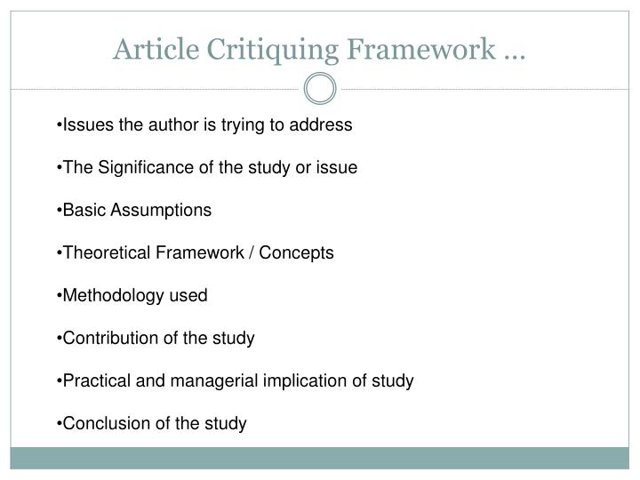 Article Critiquing Framework …