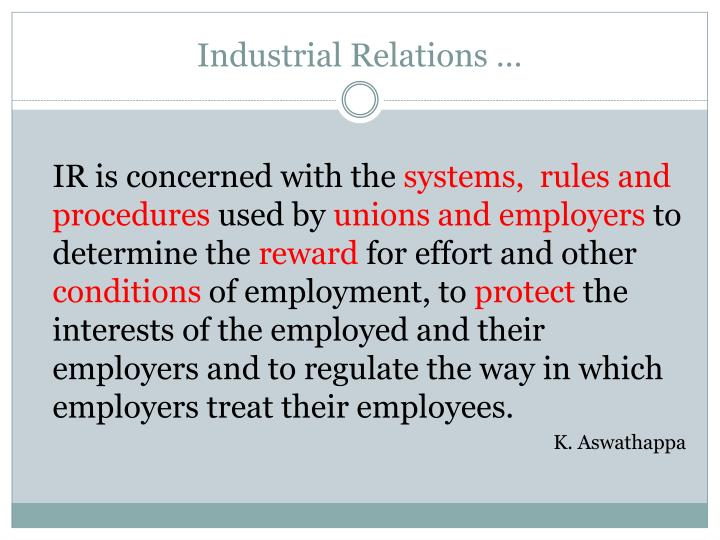 Industrial Relations …