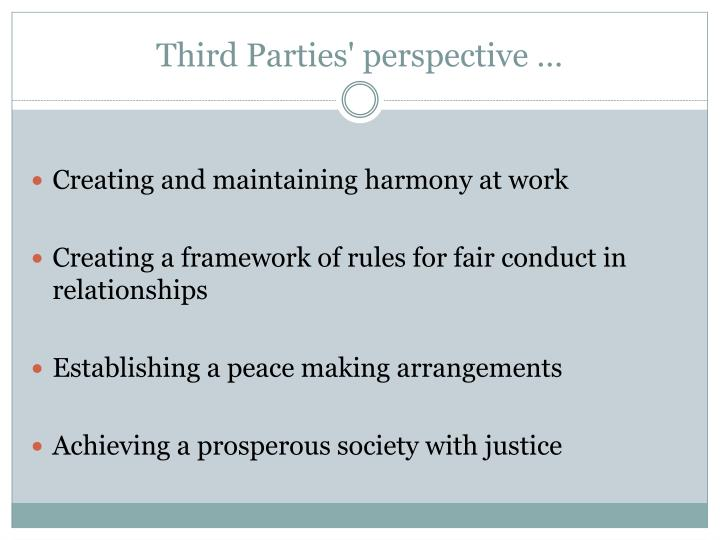 Third Parties' perspective …