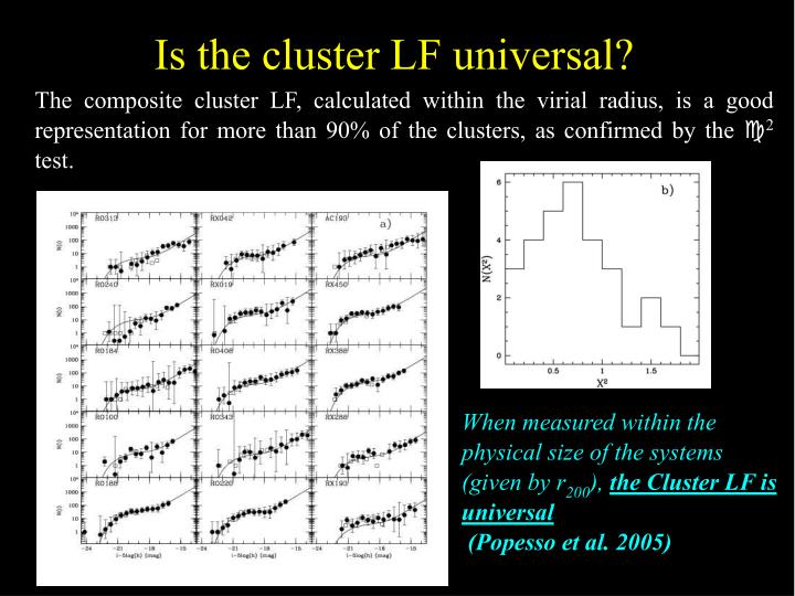 Is the cluster LF universal?