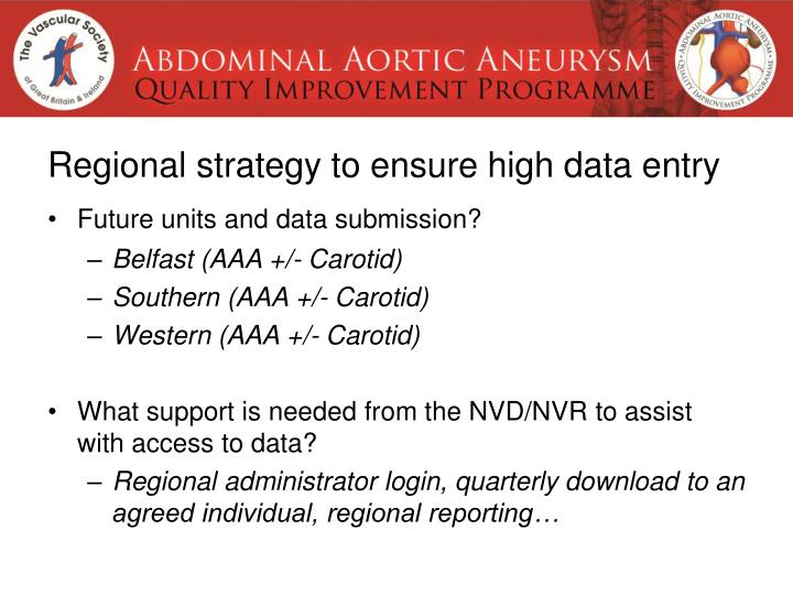 Regional strategy to ensure high data entry