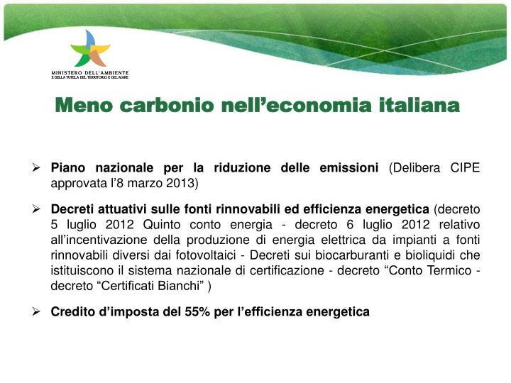 meno carbonio nell economia italiana