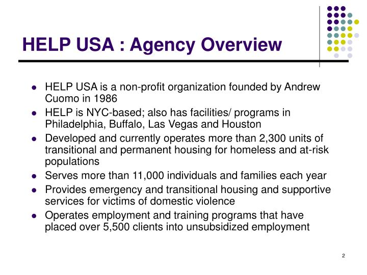 HELP USA : Agency Overview