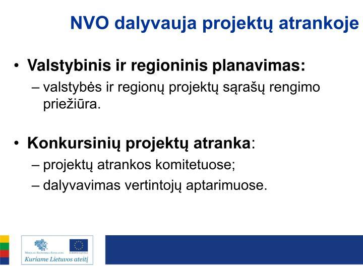 NVO dalyvauja projektų atrankoje