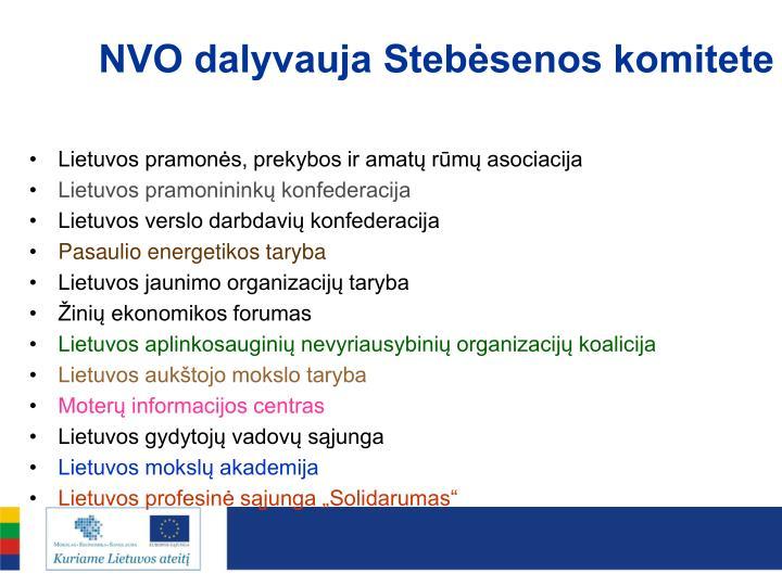 NVO dalyvauja Stebėsenos komitete