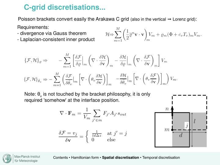 C-grid discretisations...