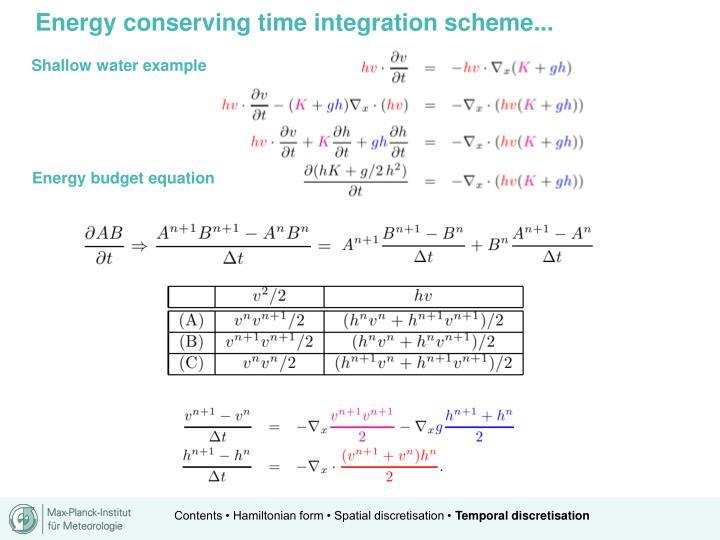 Energy conserving time integration scheme...