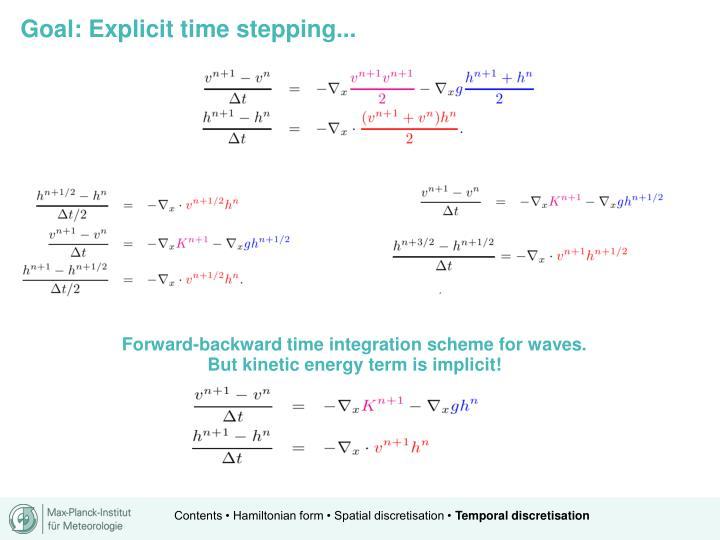 Forward-backward time integration scheme for waves.
