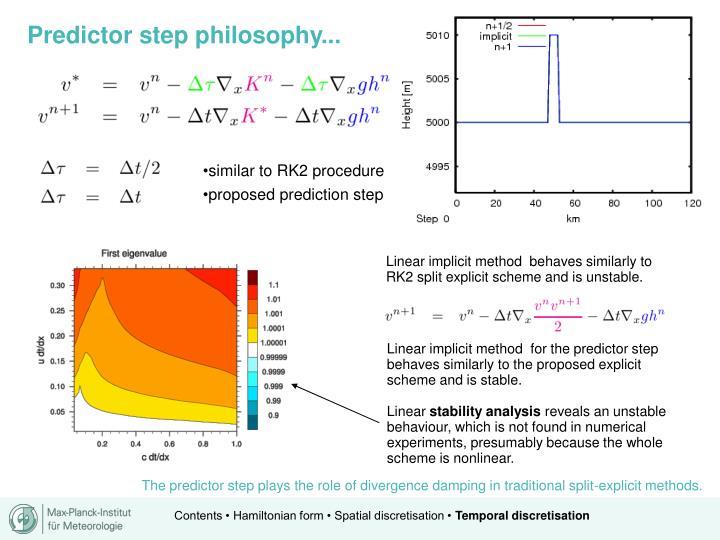 Predictor step philosophy...