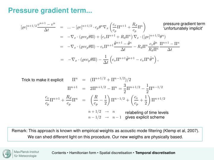 Pressure gradient term...