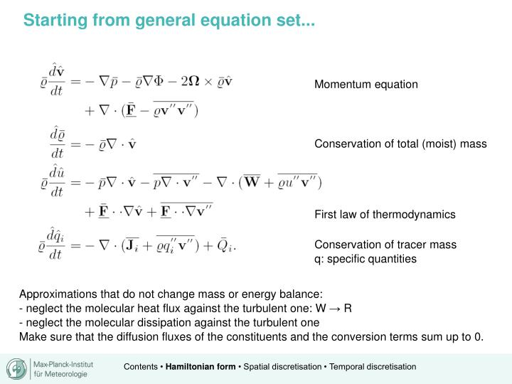 Starting from general equation set...