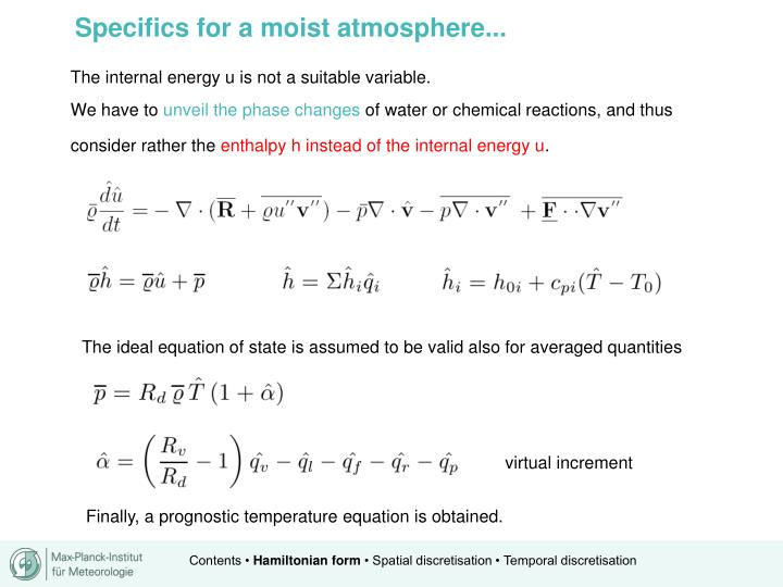 Specifics for a moist atmosphere...