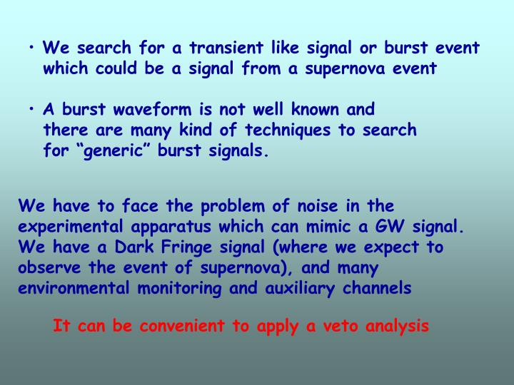 We search for a transient like signal or burst event