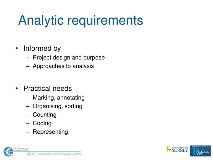 Analytic requirements