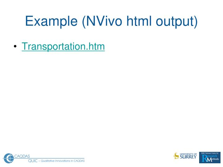 Example (NVivo html output)
